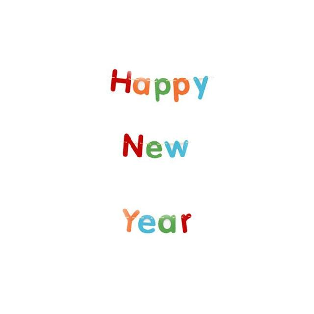 Happy New Year Felt Banner Holiday Party Banner Decoration for Festival Ornament