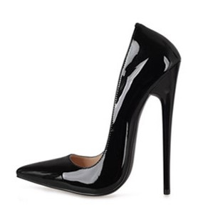 16 cm super sexy big yards pointed shoes ultra thin heels  6-12- black