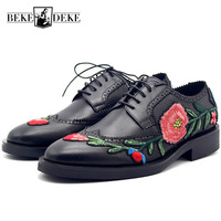Embroidered Brogues Carved Lace Up Italian Genuine Leather Shoes Men Business Derby Shoes Luxury Pointed Toe Wedding Footwear