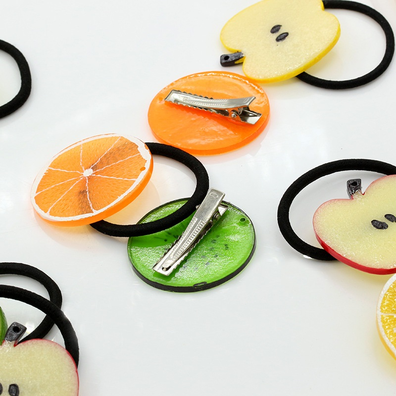 Plastic Artificial Fruit Elastic Hair bands Imitation watermelon Apple Orange kiwifruit Hair rope girls hair scrunchies headwear
