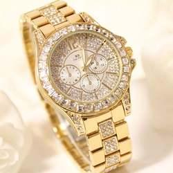 Роскошные Для женщин часы 30 м Водонепроницаемый кварцевые наручные часы горный хрусталь Сталь ремешок Мода для девочек Дамская мода часы