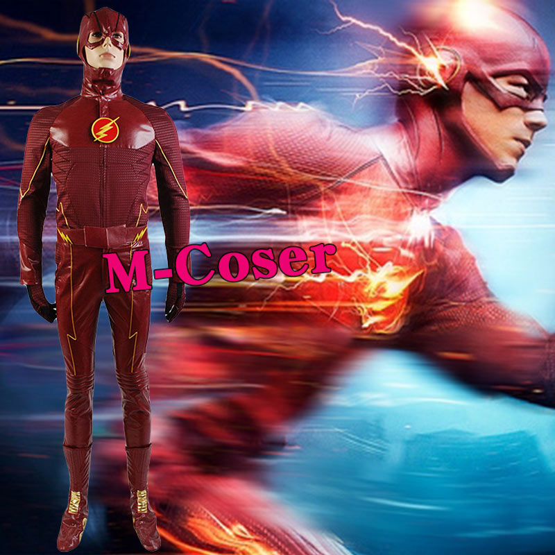 <font><b>The</b></font> <font><b>Flash</b></font> <font><b>Cosplay</b></font> Costume Barry Allen Suit Male <font><b>The</b></font> <font><b>Flash</b></font> Season 2 Barry Allen Costume Superhero <font><b>With</b></font> <font><b>Boots</b></font> Adult Men Full Set image
