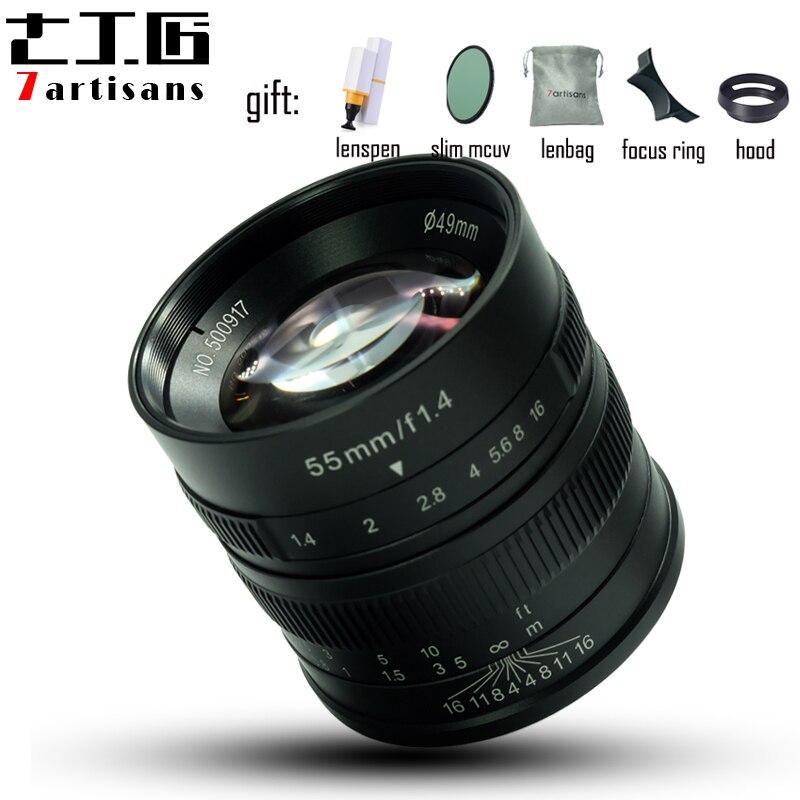 7 ремесленников 55 мм F1.4 Большая диафрагма ручной фиксированный фокус микро одиночный объектив камеры для canon M mount sony E mount или Fuji XF камеры