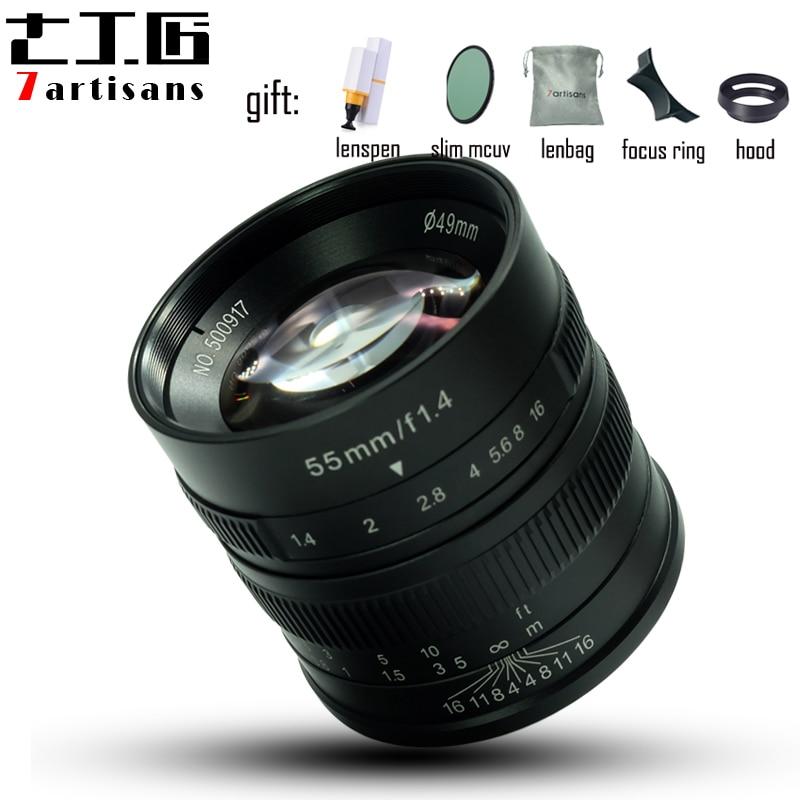 7artisans 55mm F1.4 Large Aperture manual fixed focus micro-single camera lens for canon M-mount sony E-mount or Fuji-XF camera