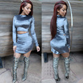 2016 Nueva Llegada de La Moda Sexy Vestidos Del Club de Las Mujeres de Terciopelo 2 PIEZAS Bodycon Del Vendaje Del Partido Vestidos de Traje VESTIDOS de Primavera Vestidos