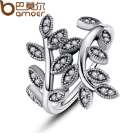 BAMOER 925 Sterling Silver Sparkling LEAVES SILVER RING WITH CUBIC ZIRCONIA for Women Original Jewelry PA7114