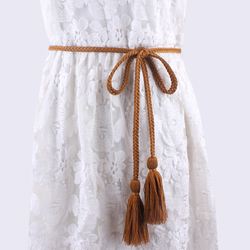 Fashion Women Tassel Braided Waistband Twist Weaving Knitted Belt Decorated Rope For Dresses Shirt Brown Black Cotton String Women's Belts