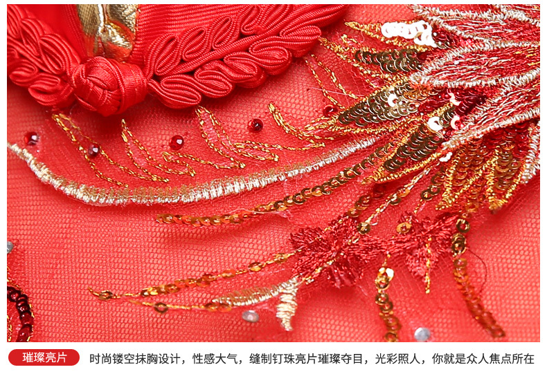 Bride Traditional Chinese Cheongsam Dress Qipao Embroidery Red Mermaid Wedding Gowns Style Chinois Femme Oriental Dresses 10