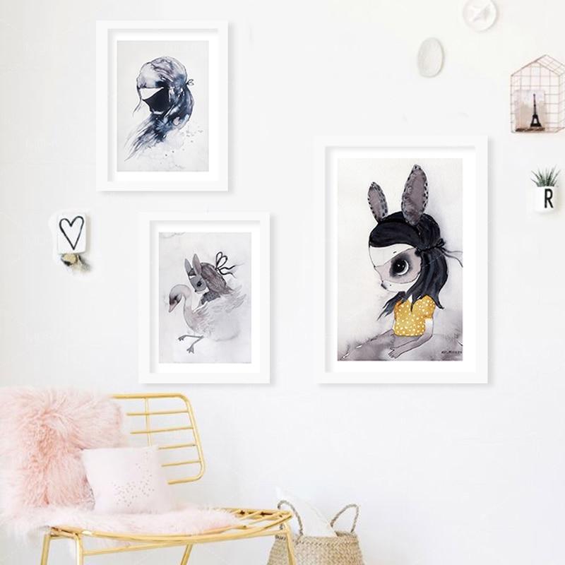 Obraz na plátně králík dívka plakáty dekorativní nástěnná malba Obraz na plátně Obrazy na zeď Domácí dekorace plakáty