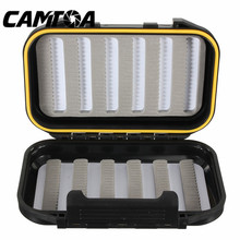CAMTOA 13x9x3.8cm Waterproof Fishing Tackle Boxes Double Sides Foam Fly Fishing Lure Bait Hook Tackle Storage Case Cover Box