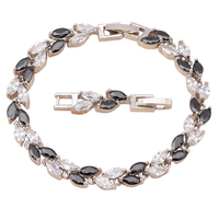 Black Onyx Crystal Leaves Design 18K White Gold Plated Charm Bracelets For Women Health Fashion Jewelry