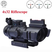 Hot Sale Tactical 4X32 Mini Optics Sniper Scope Compact Riflescopes Airsoft Sight Gun Rifle Shooting Hunting Scopes 20mm Rail