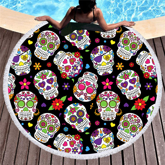 FLOWER SKULL ROUND BEACH TOWEL (10 VARIAN)