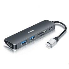 6 em 1 Megoo USB C Laptop Docking Station para HDMI Tipo C/USB3.0/PD Carga/SD leitor de Cartão de TF para Mac Pro