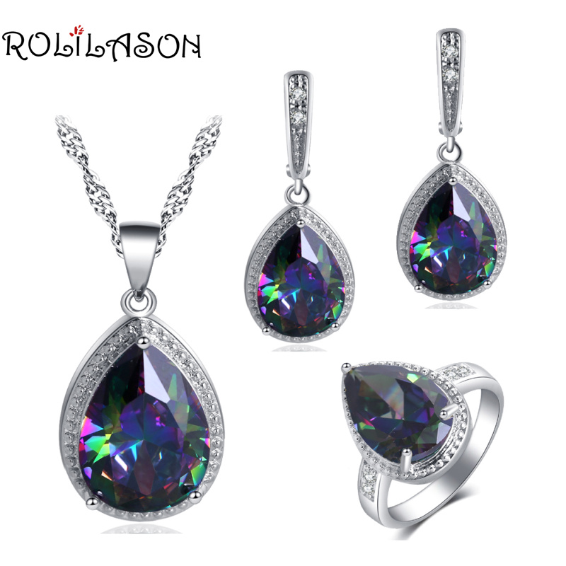ROLILASON Water Drop Design 925 Silver multicolor Zircon For girl Earrings Necklace Rings Jewelry Sets JS736