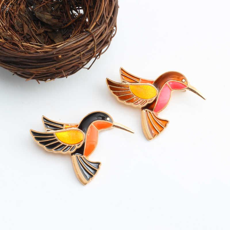 Kreatif Fashion Yang Unik Enamel Dua Burung Bros untuk Wanita Bros Denim Mantel Topi Aksesoris Ransel Tombol Lencana Perhiasan