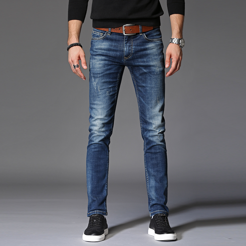2017 top quality long full trousers jeans men cotton clothing Slim Straight jeans males Causal Distressed Ripped hole Pants