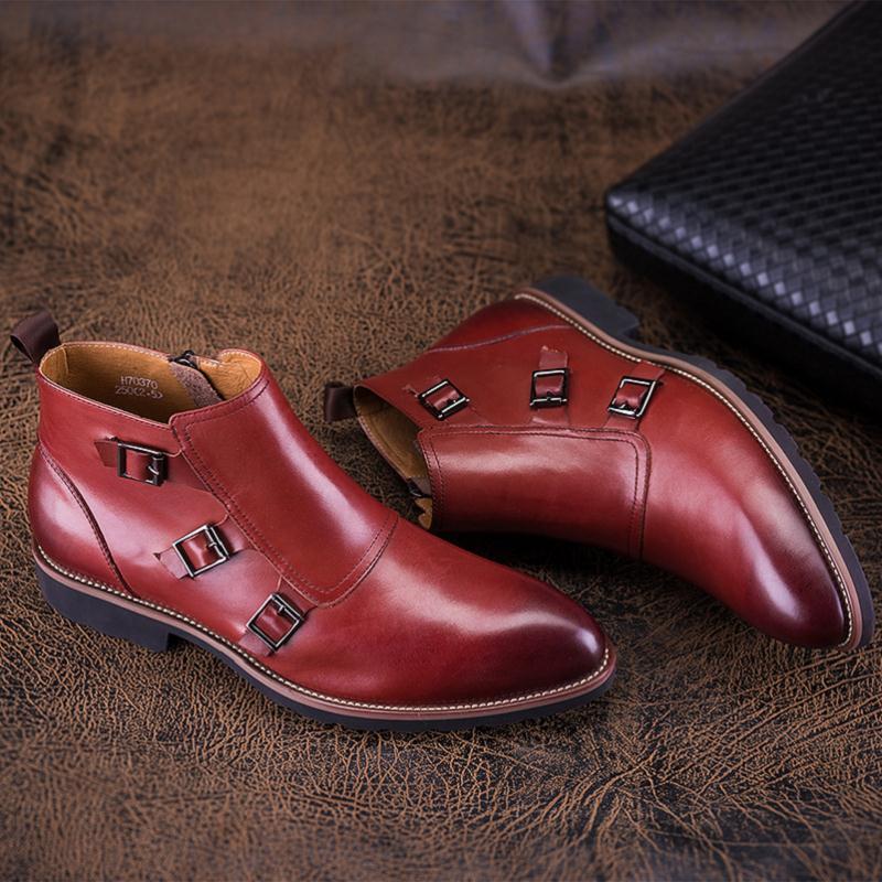 Homens Formais Botas Ankle Outono Alta Casuais Zíperes Vinho De Novo Negócios Top Estilo Dos Couro Respirável Preto Sapatos Boots Mycolen vermelho txqawAg1f