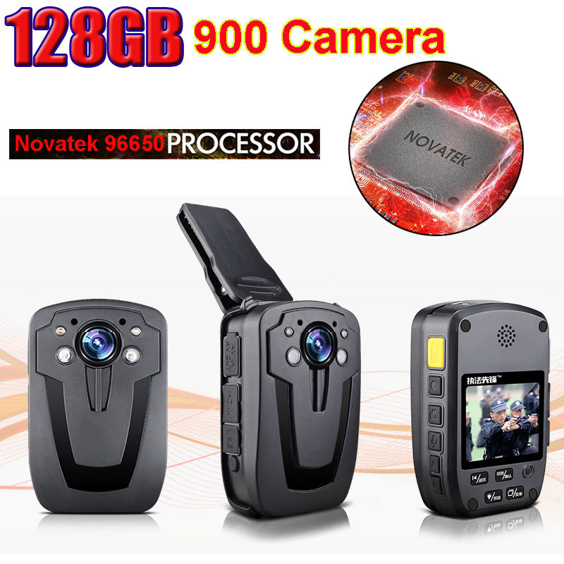 BOBLOV D900 NTK96650 Body Worn Camera Police Wearable Video Camera Recorder DVR 128GB HD 1080P Cam A01