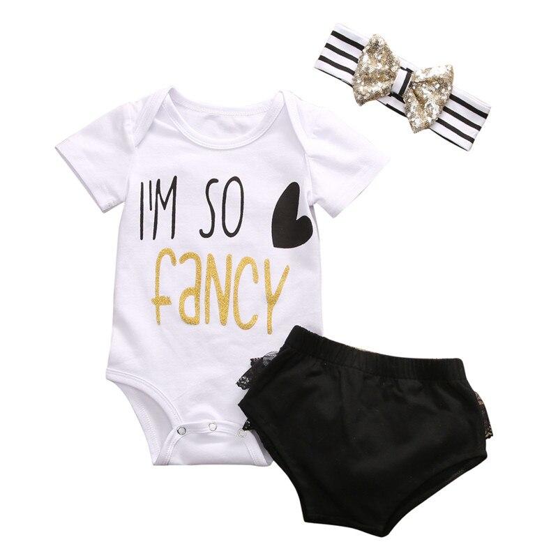 Hot sales 3pcs Baby Girl Clothes Kids Newborn headband +Top+Shorts Tutu Outfit Baby Clothing Sets