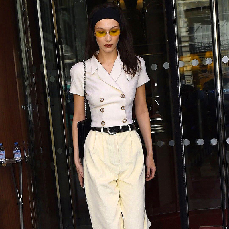 Wild Small Suit Jacket Short Sleeve New Short Coat Women 2019 Summer Tops  Belt Slim Double Breasted Short Coats(China)