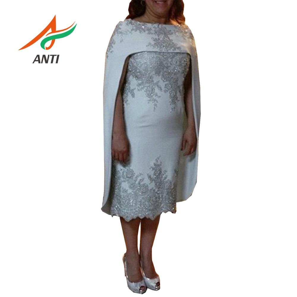ANTI 2019 Elegant Silver 2 Pieces Mother Of The Bride Dress With Jacket vestido de madrinha Gown For Women ever pretty