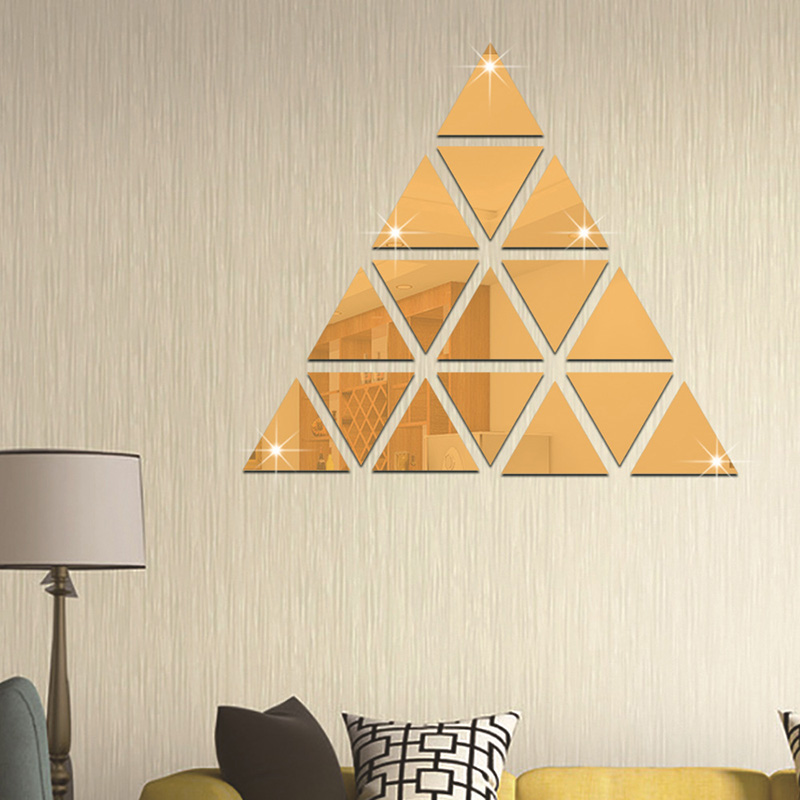 Meya Triangle Mirror Wall Stickers Diy Crystal Acrylic Sticker 50pcs Per Lot In Decorative Mirrors From Home Garden On Aliexpress