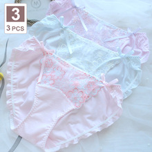 Kawaii Panties of Large Size Underwear Women Sexy Bow Mesh Cute Womens Cotton Briefs Plus Size Panties Female