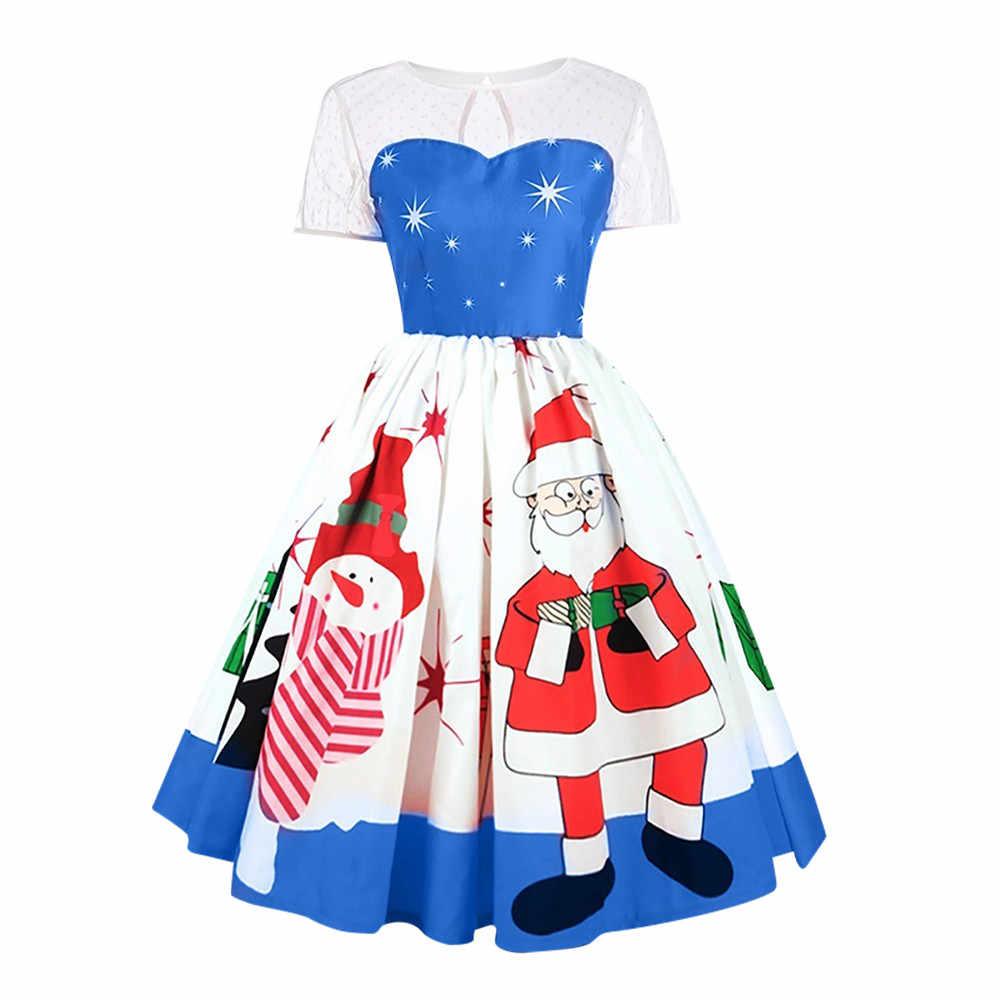 d9cf01399c1 Модное женское рождественское винтажное платье с принтом Санта-Клауса