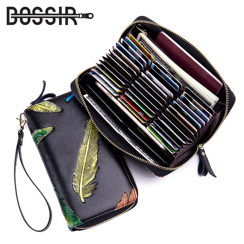 Wallet Women Long Fashion Style Leather Large Capacity Feather Zipper Clutch Wallet Female Purse Phone/Passport/Card Holder contacts cow leather men casual clutch wallet card holder zipper purse with passport holder phone case for male long wallet