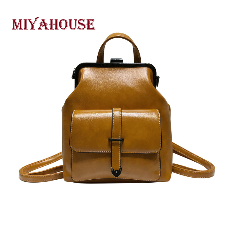 Miyahouse Fashion Casual Travel Woman Backpack Simple Solid Color Backpack For Female High Quality Pu Leather Woman Rucksack #1