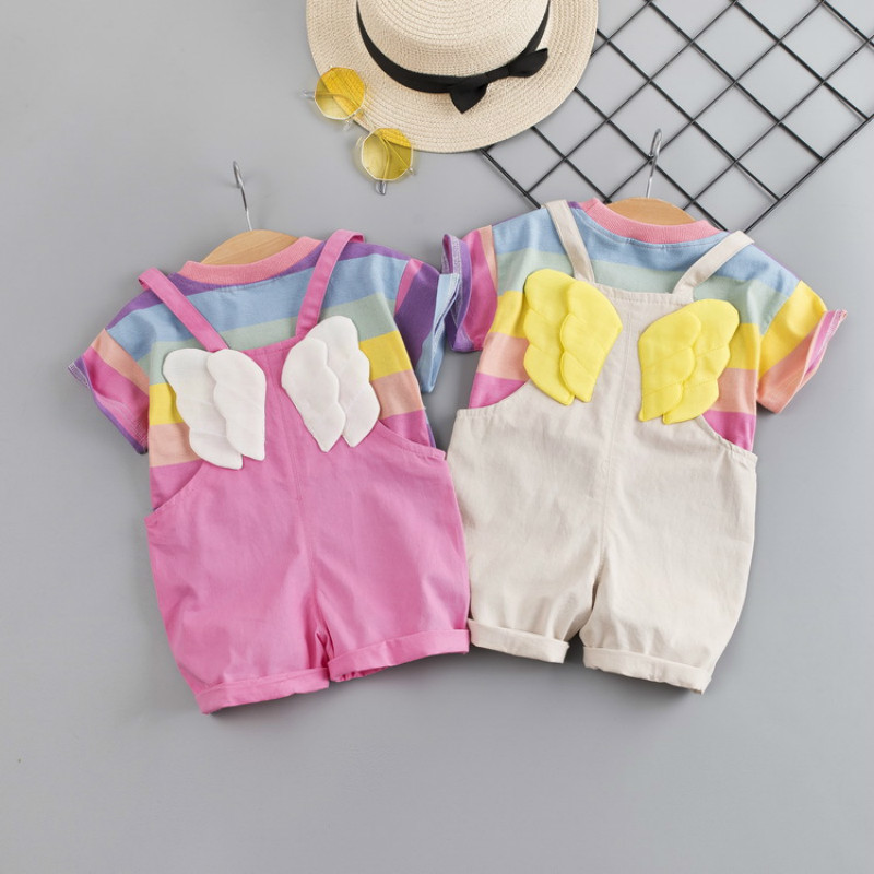 Fashion Baby Girl Clothes Toddler Color Striped T Shirt Bib Shorts 2pcs/Set Kid Garment Infant Costume Children Casual Tracksuit