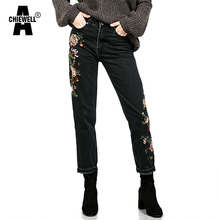Achiewell Spring Casual Women Jeans High Waist Floral Embroidery Black BF Women Denim Jeans Bottoms