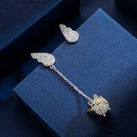 2019 Hot Sale Fine jewelry New flying piglet earrings Female Crystal from Austrian Asymmetric long earrings For Women Party
