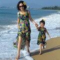 Família equipado Paternidade boêmio Férias de praia Férias vestido de Verão saia de chiffon Menina flor chiffon vestido de mãe e filha