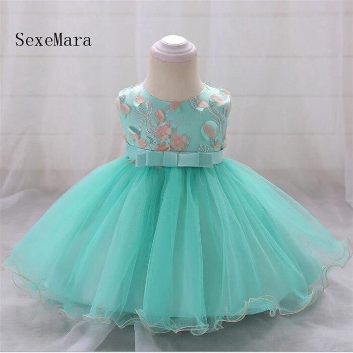 Infant Baptism flower Girl Dresses Baby Dress 3D Appliqued Baby Girl 1 Year Birthday Dress Christmas Dress Real Photo