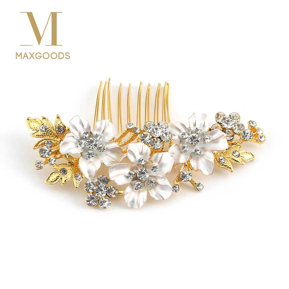 ddca159e2 Wedding Bridal Hair Combs Vintage Crystal Hairpins Prom Jewelry Gold Silver  Flower Pattern Hair Pins for