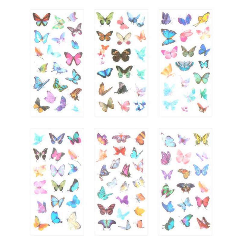 6 Pieces/bag. New 3d Butterfly Transparent Sticker Child Award Stationery Diy Outdoor Decoration Sticker Scrapbook Gift