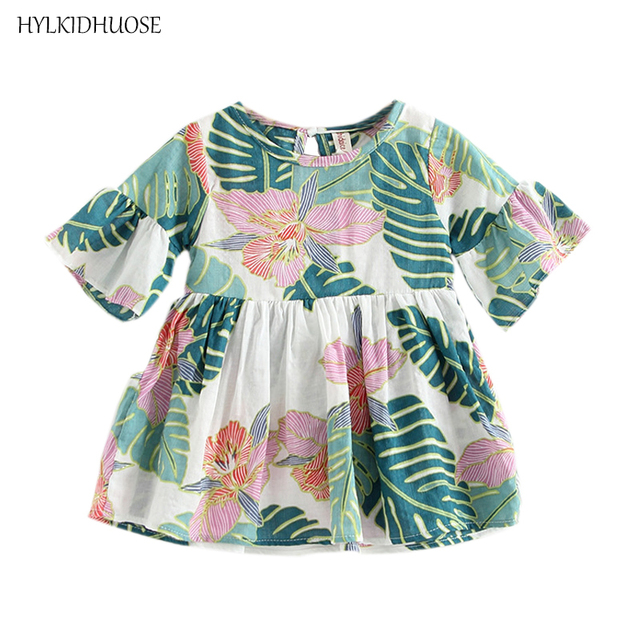 4ed7c2247d48 HYLKIDHUOSE 2018 Summer Baby Girls Dress Cotton Infant Dress Flowers ...