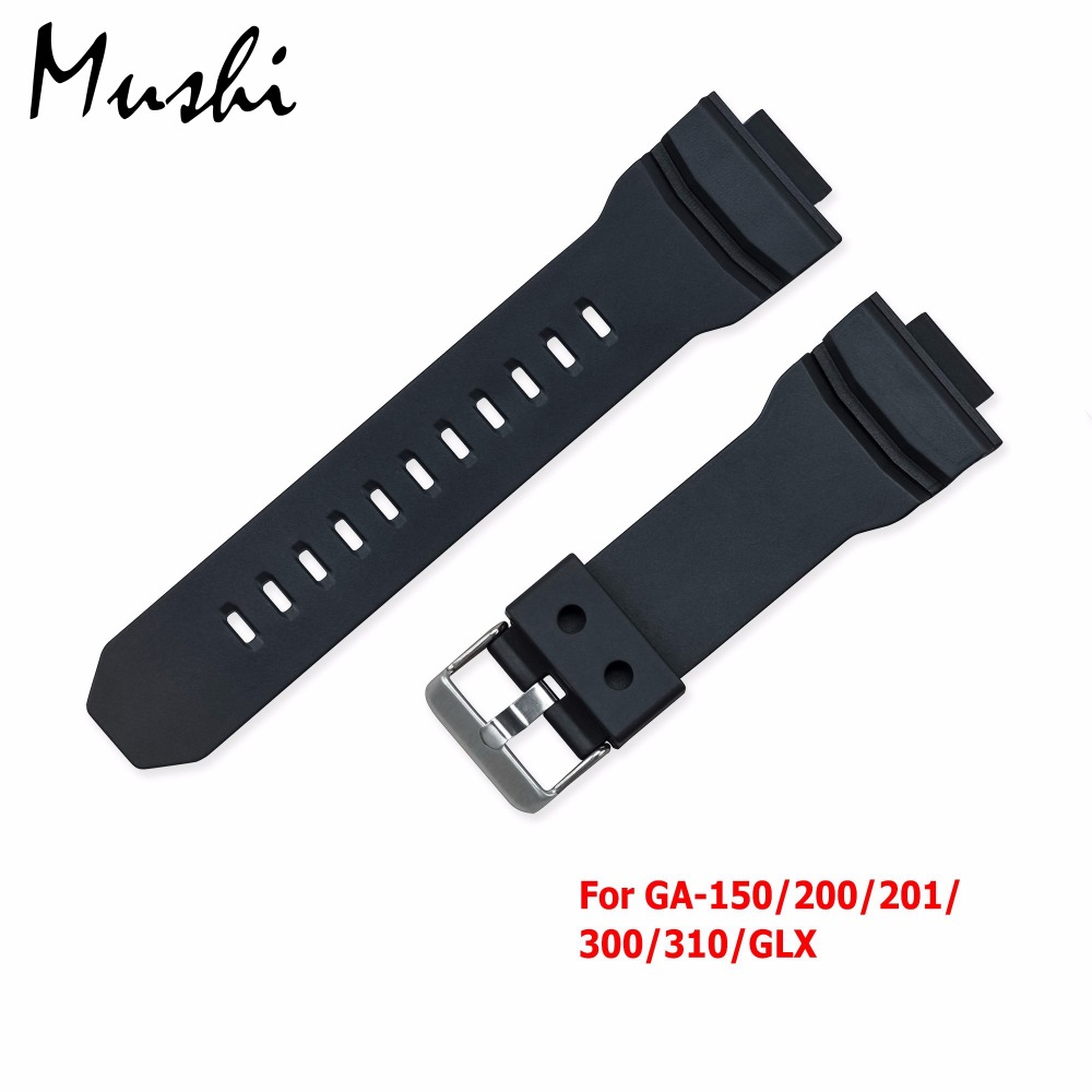 Rubber Strap for Casio GA-150/200/201/300/310/GLX Silicone Watchband Pin Buckle Strap Watch Wrist Bracelet Black Women Men +Tool
