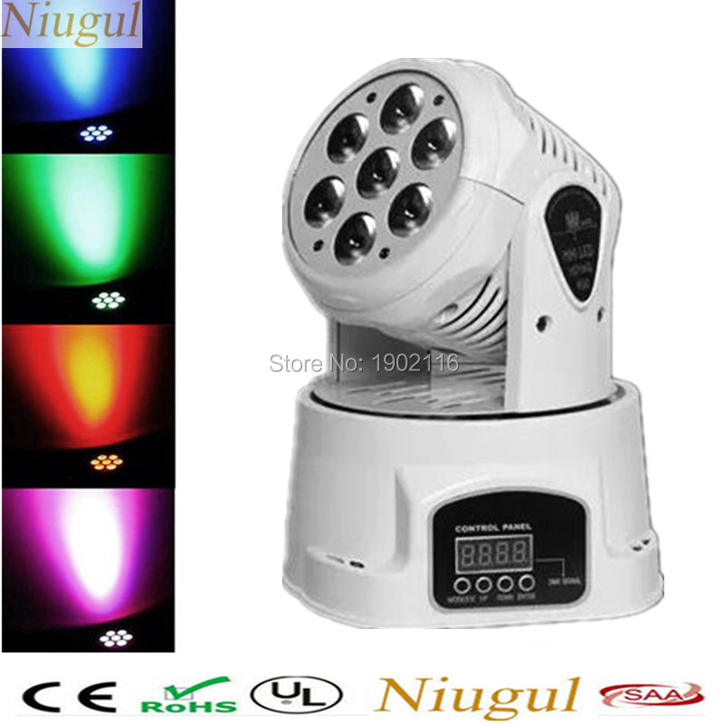 Niugul White color DMX512 led moving head light wash stage light 7x12w wash light rgbw 4in1 dj equipments disco party lighting 2pcs lot rgbw double head 8x10w led beam light mini led spider light dmx512 control for stage disco dj equipments free shipping