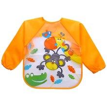 Cartoon Baby Bibs Waterproof Infants Long Sleeve Apron Waterproof Toddler Feeding Bibs Burp Cloths Children Painting Clothes
