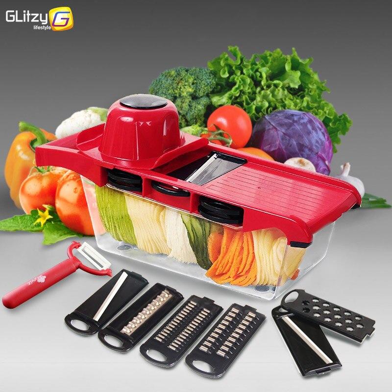 Taglierina di verdure Mandoline Affettatrice 6 Lame Julienne Grattugia Frutta Pelapatate Cipolla Utensili Da Cucina Accessori Da Cucina Gadget