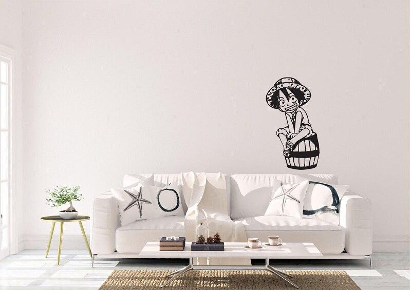 One Piece Kid Luffy Anime Inspired Design Home wall Art Decal Vinyl Sticker  sea fan room decoration wall sticker  HZW03-in Wall Stickers from Home & Garden