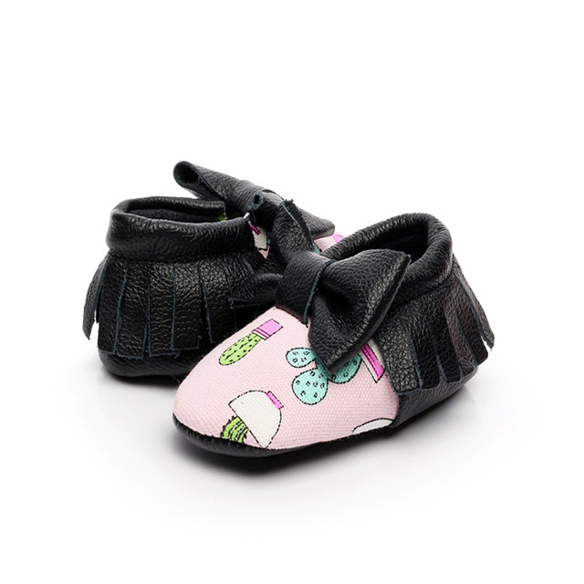 New Soft Sole 10 Colors Genuine Leather Baby Girls Boys Print First Walkers Newborn Bowknot Moccasins Prewalker Toddler Shoes