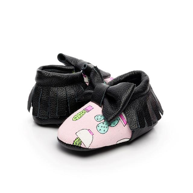 New Soft Sole 10 Cores de Couro Genuíno Meninos Das Meninas Do Bebê Imprimir Primeiro Walkers Newborn Bowknot Prewalker Criança Sapatos Mocassins