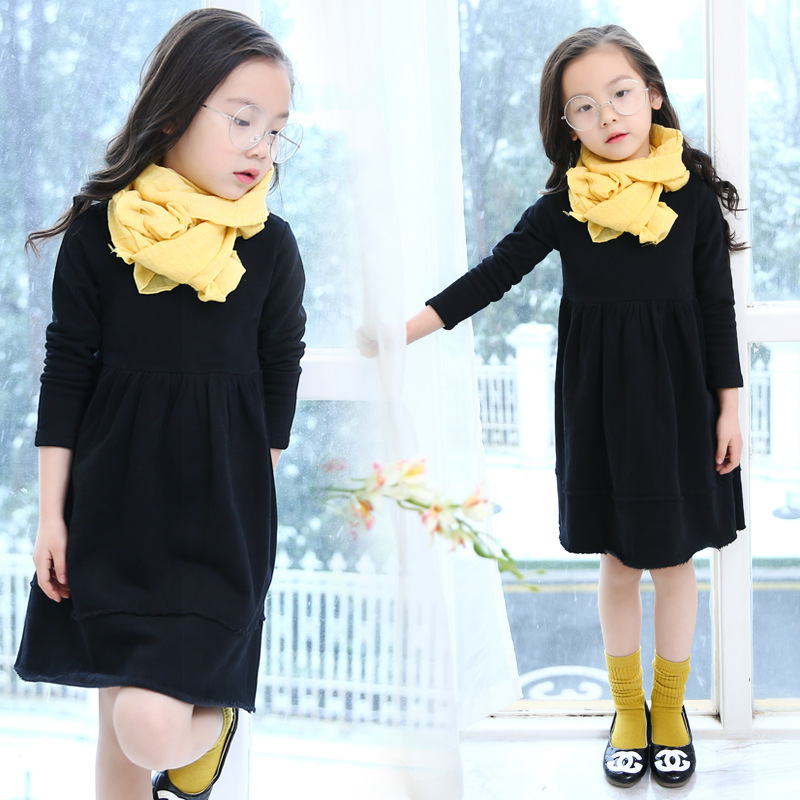 Girls Spring Autumn Korean Style Baby Comfortable Dress Color Kids Clothing Black Cotton