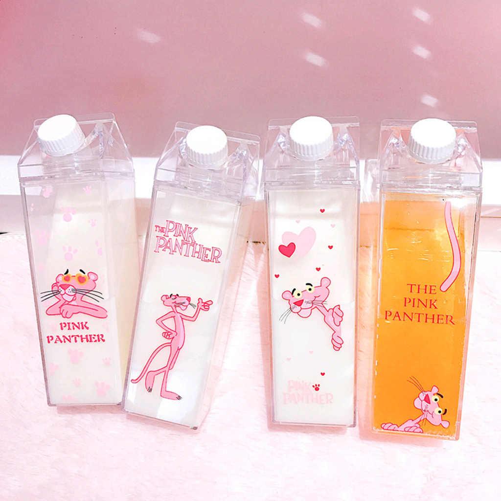 Portable Milk Box Shape Water bottles Unique Mini Cartoon Leopard Outdoor Travel Water Bottles BPA Free Coffee Beer Drinkware