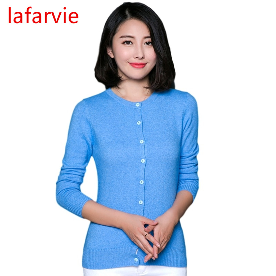 Lafarvie Hot Sale Kvalitet Cashmere Blend Cardigan Tröja Kvinna Full-Sleeve O-Neck Slim Single-breasted Märke Drag Kvinna Jumper