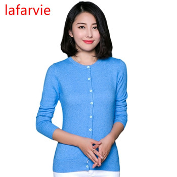 Lafarvie Hot Sale Quality Cashmere Blend Cardigan Sweater Women Full Sleeve O-neck Slim Single-breasted Brand Pull Female Jumper